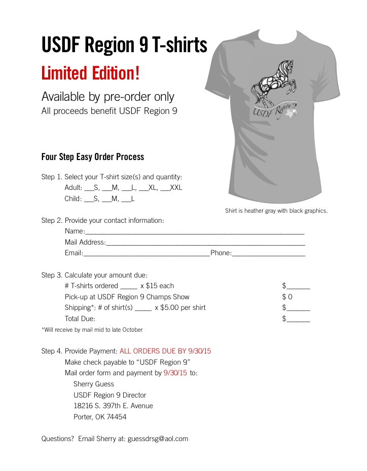 Region 9 T-Shirt Order Form | Arkansas Dressage Society